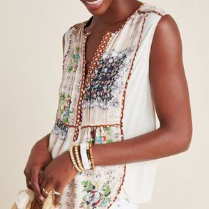 Anthropologie Sleeveless Floral Top - Size S - NEW